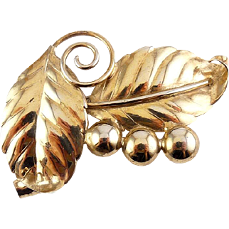 1940's Sterling & Gold Vermeil Large Leaves & Berries Pin - Old Crest