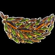 Giant 1960's Rhinestone Leaf Brooch Pin - Olivine & Topaz Navettes