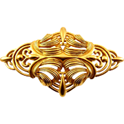 Oscar de la Renta Large Baroque Brooch Pin, Satin Finish Gold Tone, Fancy Scrolls
