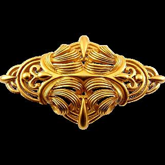 Oscar de la Renta Large Baroque Brooch Pin, Satin Finish Gold Tone, Fancy Scrolls