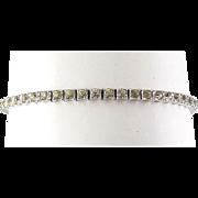 Otis Sterling Silver Art Deco Rhinestones Eternity Line Bracelet