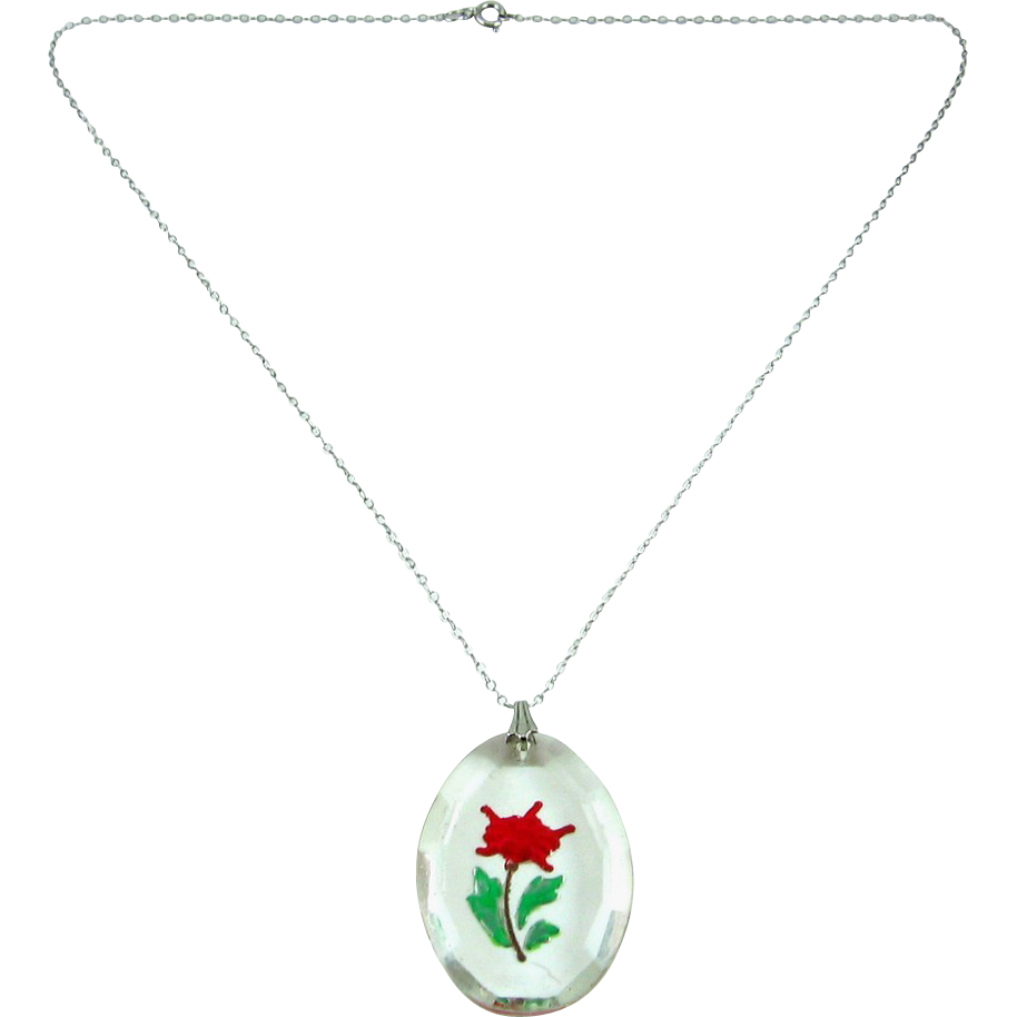 Oval Crystal Intaglio Flower Pendant, Enameled - Sterling Chain Necklace