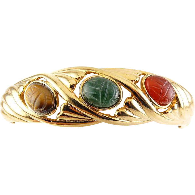 Vintage Gold Plated Hinged Clamper Bangle with 3 Carved Gemstone Scarabs - Erwin Pearl PEP