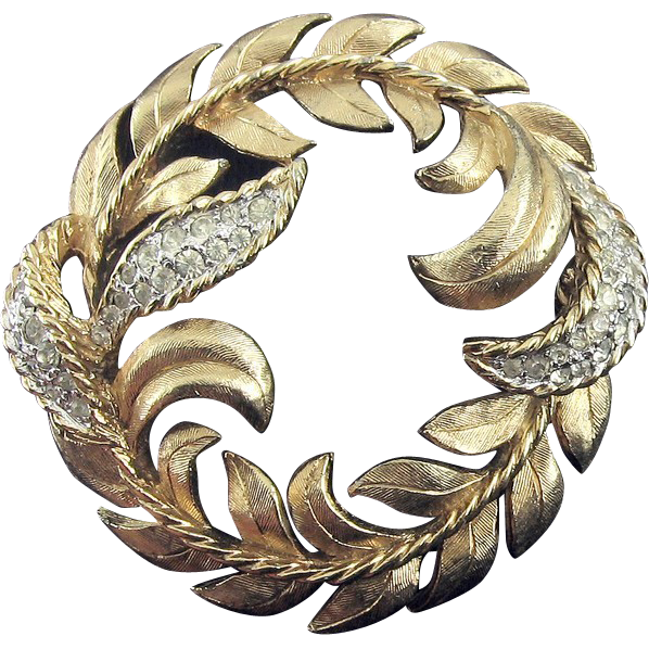 PANETTA Gold Tone Leafy Wreath Circle Pin with Rhinestone Leaves