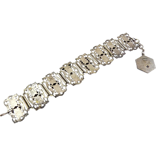 C 1945 Paris Views Fancy Wide Panels Bracelet -Filigrane Depose, French Souvenir WWII