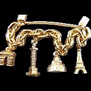 Paris Souvenirs Gold Plated Charm Bracelet: Eiffel Tower, Sacre Coeur, Place Vendome, Arc de Triomphe- Made in France