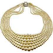 1950's Graduated Faux Cream Pearls 6 Strand Necklace, Rhinestone Clasp