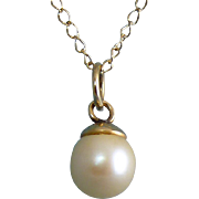 White Round 7mm Pearl with 14K Bail Top, G.F. Chain Necklace