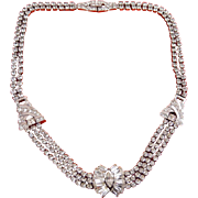 Phyllis Sterling Silver & Rhinestone Art Deco 3-Strand Necklace