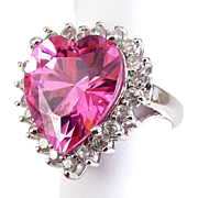 Huge Pink CZ Heart Ring with Crytal CZ Setting - Rhodium Finish