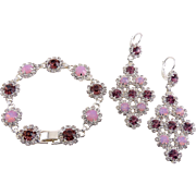 Pink Opal & Amethyst Rosette Flower Links Bracelet & Lg. Drop Earrings, Rhodium Finish