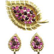 1960's Ruby Red and Pink Rhinestone Leaf Brooch Pin & Earrings - Great Condition