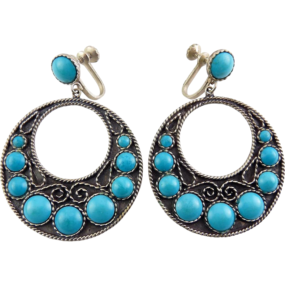 Vintage Mexican Sterling Silver & Turquoise Cabochons Lg. Hoop Earrings, Plata de Jalisco