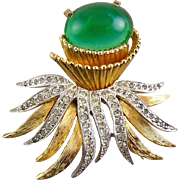 Polcini Faux Emerald Rhinestone Spray Silver & Gold Flower Pin