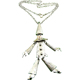 Adorable Polcini Lg. Jointed Clown Pin-Pendant with Necklace Chain - Enameled Face