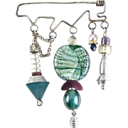 Post Modern Sterling Silver, Fused Glass Beads & Aluminum Pendants Bar Pin