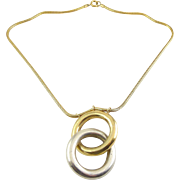 Vintage Pierre Cardin Mod Sterling Silver & Gold Vermeil Double Ring Necklace