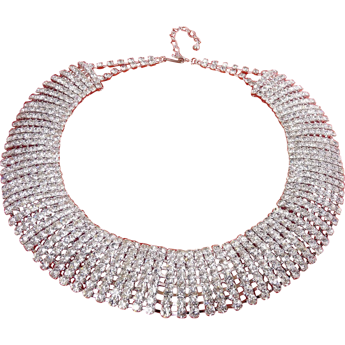 Sparkling 8-Row Rhinestone Collar Necklace - Flexible Chain Link, Adjustable