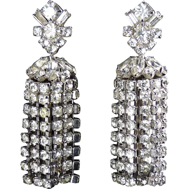 1960's Rhinestone Chain-Link Column Chandelier Earrings- High Sparkle