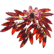 Radiant Ruby & Bright Pink Rhinestones Leafy Sprays & Flower Pin - Dramatic Marquise Stones