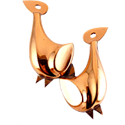 RENOIR 1960's Copper Mod Birds Doves Pin