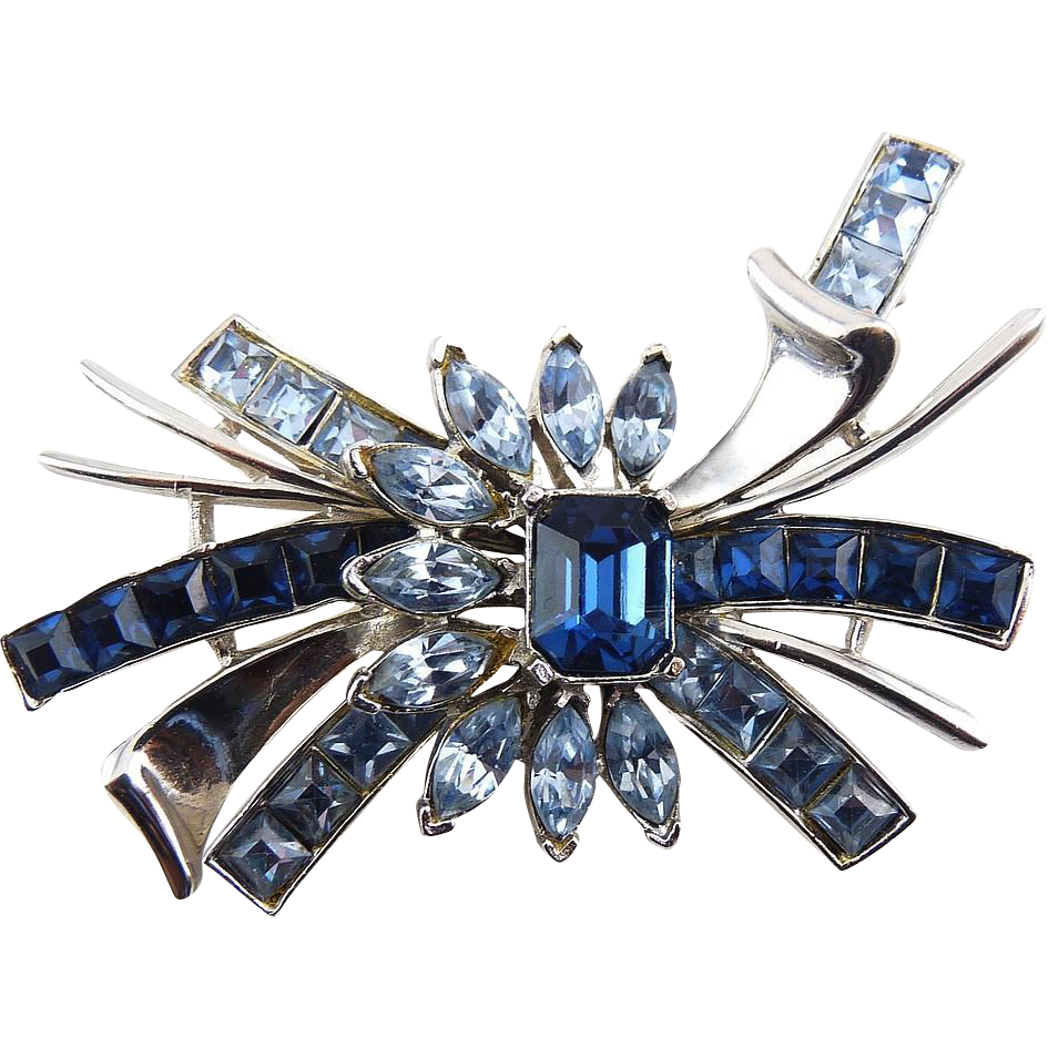 1940's Retro Bow Pin with Sapphire & Light Blue Rhinestones -Heavy Rhodium Finish
