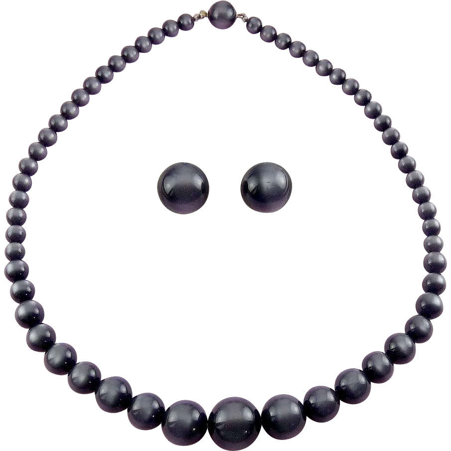 1960's Richelieu Silver Gray MoonGlow Beads Necklace & Earrings - Orig. Card