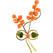 Tall Rose Bouquet Brooch Pin with Carved Coral Flowers and Nephrite Leaves