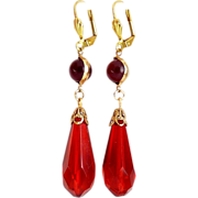Art Deco Style Ruby Glass Prism Drop with Glass Ball Tops Earrings