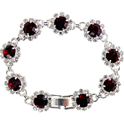 Ruby Red & Crystal Rosette Flower Links Bracelet, Rhodium Settings