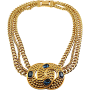 1980's Swarovski Triple Chain, Linked Circles with Faux Sapphires Necklace - S.A.L.