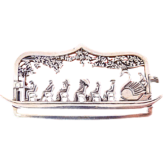 Sterling Silver Boston Public Garden Swan Boat Pin - Shreve, Crump & Low