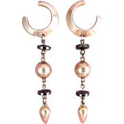 Long Sterling & Hematite Beads Drop Earrings - Modernist Style