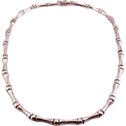 Sterling Silver Bamboo Style Links Contoured Necklace