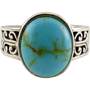 Sterling Silver & Turquoise Cabochon Band Ring - Scrolled Pierced Sides