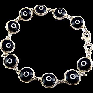 Sterling Silver & Black/White Glass Evil Eye Bracelet