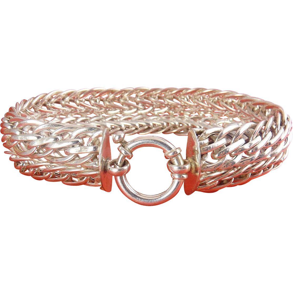 Sterling Silver Wide Braided Knit Style Bracelet - 8 1/2 Inch, Hefty