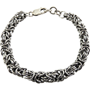 "Hefty Sterling Silver Byzantine Rope Link Bracelet, 9"", Womens or Mens"