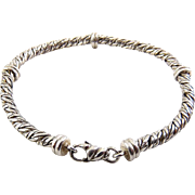 Sterling Silver Woven Cable Bracelet with Wrapped Stations