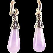 Sterling Silver Capped Amethyst Teardrop Earrings, Pierced