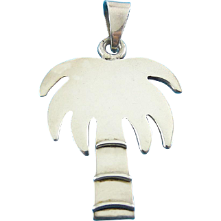 Solid Cast Sterling Silver Large Palm Tree Pendant
