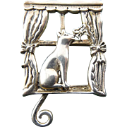 Sterling Silver Cat in Window with Wagging Tail, Butterflies & Curtains