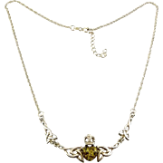 Sterling Silver & Green Amber Heart Irish Celtic Knots Necklace