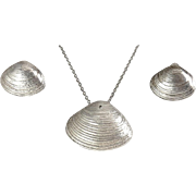 Sterling Silver Sea Clam Shell  Pendant Necklace & Earrings