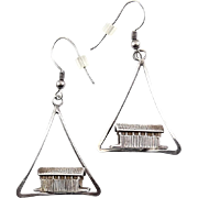 Sterling Silver Covered Bridges in Triangle Swings Earrings - Vermont, Ohio, Pennsylvania Motif