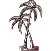 1930s Art Deco Sterling Silver Palm Trees Pin