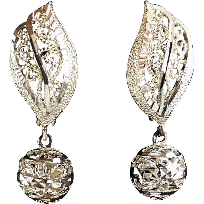 Sparkling Sterling Silver Leaf & Ball Drop Earrings, Reversible- Diamond Cutting, Pierced