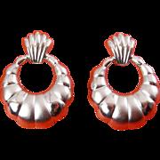 terling Silver Doorknocker Earrings, Shiny & Satin Finish - Pierced