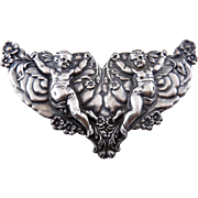 Sterling Silver Double Cupids, Roses & Forget Me Nots Lg Pin - Victorian Style