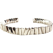 David Sigal Sterling Silver Pleated Cuff, Solid Cast Modernist Bracelet